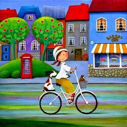 Пазл онлайн: На велосипеде
