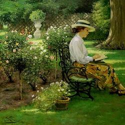 Пазл онлайн: Чтение в летнем саду