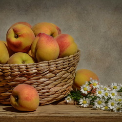Пазл онлайн: Персики и ромашки