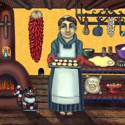 Пазл онлайн: Святой Паскуаль печет печенье