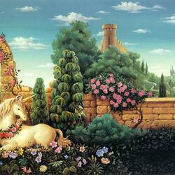 Пазл онлайн: Единорог в саду