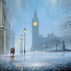 Пазл онлайн: Вечер под дождем
