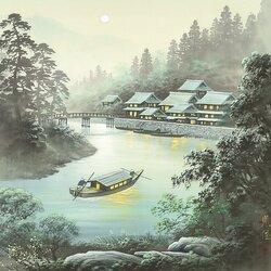 Пазл онлайн: Вечер на реке