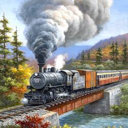 Пазл онлайн: Дымок паровоза