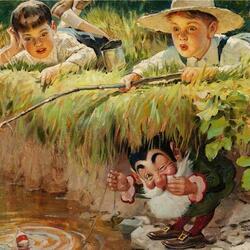 Пазл онлайн: Веселые рыболовы