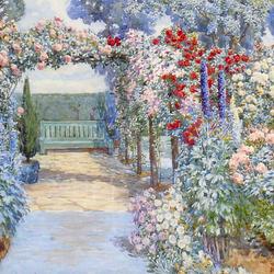 Пазл онлайн: Скамейка среди цветов