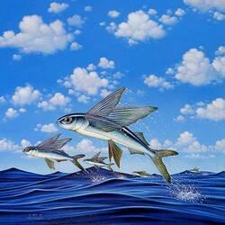 Пазл онлайн: Летающие рыбы