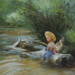 Пазл онлайн: Маленький рыбак