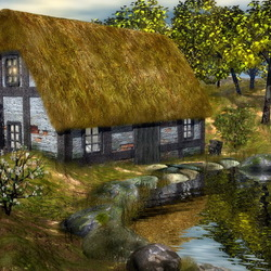 Пазл онлайн: Домик у реки
