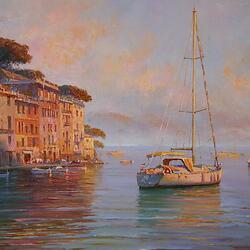 Пазл онлайн: Утреннее солнце. Портофино