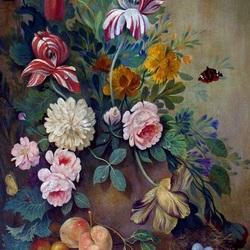 Пазл онлайн: Букет с бабочкой и гнездом