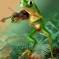 Пазл онлайн: Лягушка-скрипачка