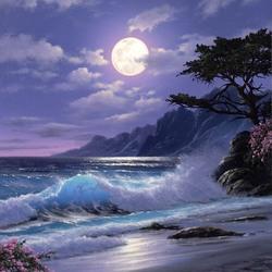 Пазл онлайн: Ночной берег