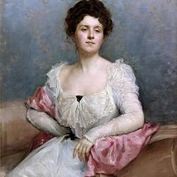 Пазл онлайн: Портрет дамы в розом шарфе