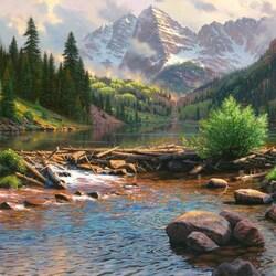 Пазл онлайн: Течет река