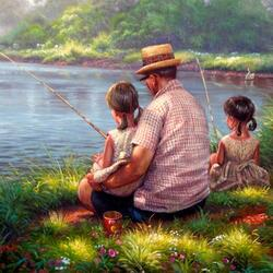 Пазл онлайн: На рыбалке с дедушкой