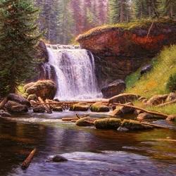 Пазл онлайн: Лесной водопад