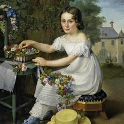 Пазл онлайн: Девочка, плетущая венок