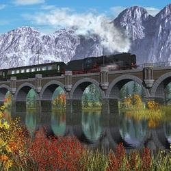Пазл онлайн: Поезд быстрый
