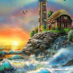 Пазл онлайн: Рассвет на маяке