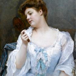 Пазл онлайн: Молодая женщина с зеркалом