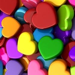 Пазл онлайн: Разноцветные сердечки
