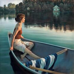 Пазл онлайн: Девушка в лодке