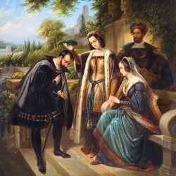 Пазл онлайн: Колумб перед королевой Изабеллой
