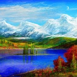 Пазл онлайн: Голубое озеро