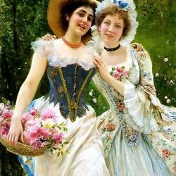 Пазл онлайн: Девушки с цветами