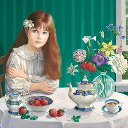 Пазл онлайн: Чай с клубникой