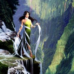 Пазл онлайн: Богиня водопада