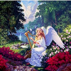 Пазл онлайн: Играющий ангел
