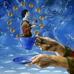 Пазл онлайн: Чашка с Коперником