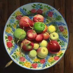 Пазл онлайн: Яблоки на тарелочке