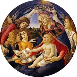 Пазл онлайн: Мадонна с младенцем и пятью ангелами