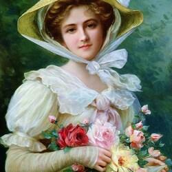 Пазл онлайн: Элегантная леди с букетом роз