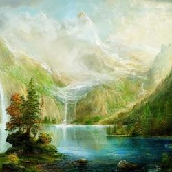 Пазл онлайн: Горный пейзаж с водопадами