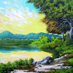 Пазл онлайн: Утро у реки