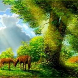 Пазл онлайн: Лошади у дуба