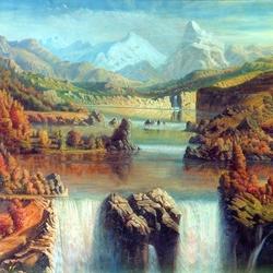 Пазл онлайн: Водопад в горах