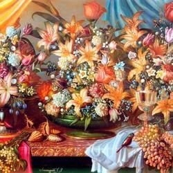 Пазл онлайн: Цветочный натюрморт в стиле барокко