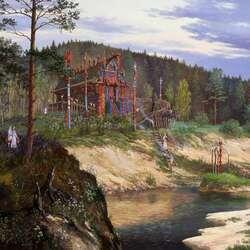 Пазл онлайн: Ведическая Русь. Приношение духам реки