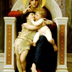 Пазл онлайн: Мадонна с младенцем и ребенком Иоаном Крестителем