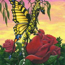 Пазл онлайн: Дракон-бабочка
