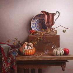 Пазл онлайн: Натюрморт с тыквами