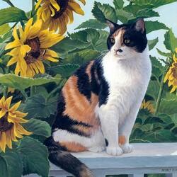 Пазл онлайн: Кот в подсолнухах