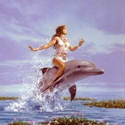 Пазл онлайн: Верхом на дельфине