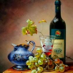 Пазл онлайн: Натюрморт с вином