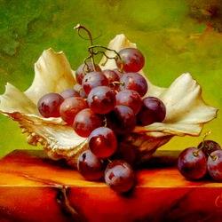 Пазл онлайн: Ракушка и виноград